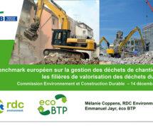 Benchmark européen sur la gestion des déchets de chantiers et les filières de valorisation des déchets du BTP